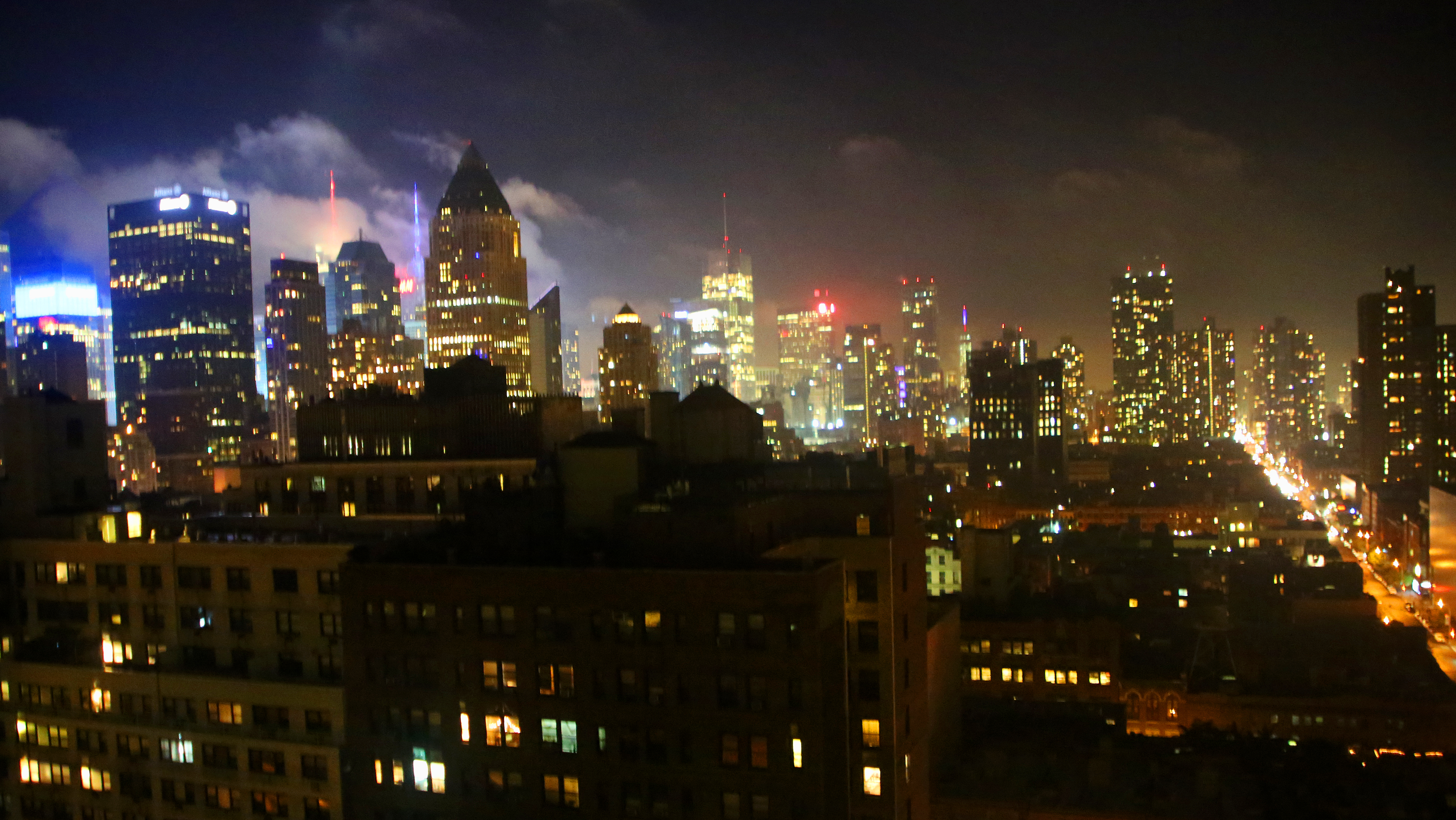 New York City at night.  View from Neil's room.